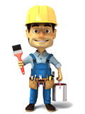 o trabalhador manual 3d com pintura pode e escova de pintura Fotografia de Stock