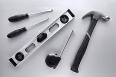 O trabalhador manual da construção utiliza ferramentas a coleção Imagem de Stock Royalty Free