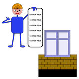 O trabalhador mostra uma lista de serviços para a construção de uma casa o Fotografia de Stock Royalty Free