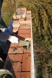o trabalhador põe o tijolo sobre o almofariz do cimento no fundo da grama fotografia de stock royalty free
