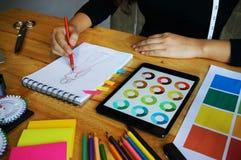 O trabalho à moda do desenhador de moda como o esboço da coleção nova comeu dentro Imagem de Stock