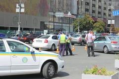 O trabalho da polícia de trânsito Imagem de Stock