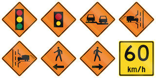O trabalho de estrada assina dentro Ontário - Canadá Imagem de Stock