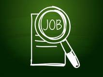 O trabalho e a busca assinam sobre o quadro-negro verde Foto de Stock Royalty Free