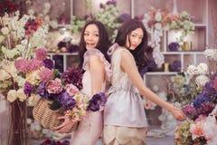 O trabalho feliz dos floristas asiáticos bonitos das mulheres na loja de flor com muita mola floresce fotografia de stock royalty free