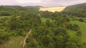 O trajeto da terra aérea através da floresta filme