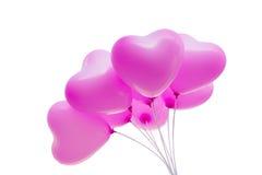 O trajeto de grampeamento isolou o grupo de balões cor-de-rosa bonitos Imagem de Stock Royalty Free