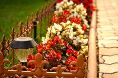 O trajeto de pedra no jardim flanqueou com flores coloridas, fundo da queda Imagem de Stock