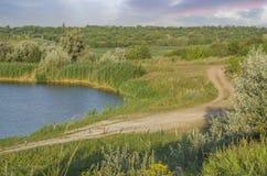 O trajeto perto do lago para caminhar Imagens de Stock