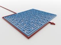 O trajeto vermelho da seta em torno de Maze Labyrinth azul 3D rende, a solução Co ilustração do vetor