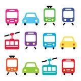 O transporte, ícones do vetor do curso ajustou-se isolado no branco Imagem de Stock Royalty Free
