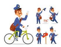 O transporte do correio do pacote do portador da ocupação do correio do vetor do caráter do homem de entrega do carteiro entrega  Fotos de Stock Royalty Free