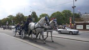 O transporte puxado por cavalos passa Rathaus filme