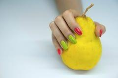 O tratamento de mãos das mulheres bonitas Imagem de Stock