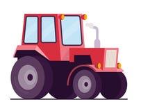 O trator de exploração agrícola, Vector a ilustração lisa do estilo, isolada no fundo branco, o vetor eps10 Imagem de Stock