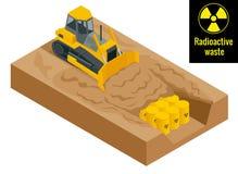 O trator escava nos cilindros com resíduos radioativos em tambores amarelos Conceito radioativo do perigo Vetor 3d liso ilustração stock