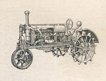 O trator, vintage gravou a ilustração Foto de Stock