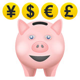 O treassure do porco na vista dianteira com moeda inventa o vetor Foto de Stock Royalty Free