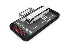 O treinador branco grande Tour Bus com estação de ônibus sobre o telefone celular com bilhetes baratos assina e registra agora o  imagens de stock