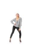 O treinamento da mulher nova rumba dança foto de stock