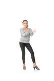 O treinamento da mulher nova rumba dança imagem de stock