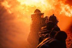 O treinamento do sapador-bombeiro Imagem de Stock Royalty Free