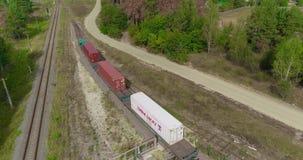 O trem é um recipiente de primeira classe, uma estrada de ferro na floresta, um trem de mercadorias em um lugar colorido video estoque
