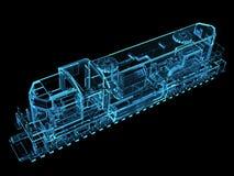 O trem 3D rendeu o azul ilustração do vetor