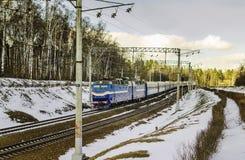 O trem chega em Moscou Fotos de Stock Royalty Free