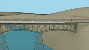 O trem de alta velocidade que passa através da ponte Fotos de Stock Royalty Free