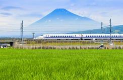 O trem de bala e a montanha de Fuji com arroz colocam no verão, Shizuoka, Tailândia Imagens de Stock
