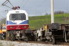 O trem descarrilhado treina no local de um acidente de trem no Ge foto de stock royalty free