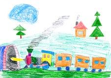 O trem do vapor vai ao metro. o desenho da criança. Fotos de Stock