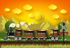 O trem estava correndo nos trilhos ilustração royalty free