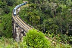 O trem no túnel Demodara nove da estrada de trilho arqueia a ponte Foto de Stock