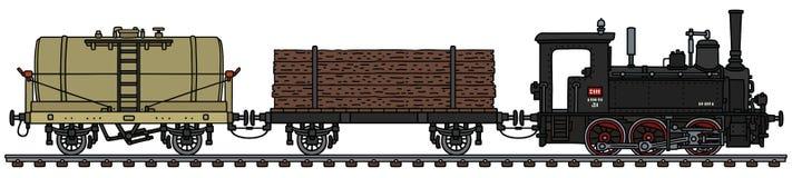 O trem retro do vapor do frete ilustração do vetor