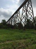 O trem segue a ponte imagem de stock