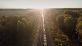O trem superior da carga da vista conduz através da madeira contra o por do sol video estoque