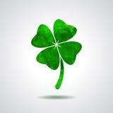 O trevo verde geométrico abstrato com quatro folhas assina o ícone Sain Fotografia de Stock