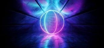 O triângulo elegante moderno futurista de Sci Fi deu forma ao túnel concreto reflexivo do Grunge com Blue Circle roxo de incandes ilustração stock