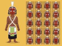 O tribo africano veste a ilustração masculina do vetor das caras da emoção dos desenhos animados de Wodaabe Foto de Stock