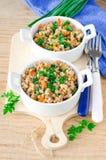Trigo mourisco stewed com vegetais Fotos de Stock