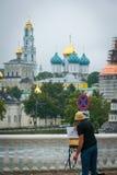 O Trindade-St santamente Sergius Lavra em Sergiyev Posad, Rússia fotografia de stock royalty free