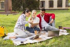 O trio do sentimento diligente dos estudantes contratou no projeto sério foto de stock royalty free