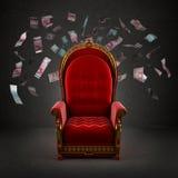 O trono real na sala imagens de stock royalty free