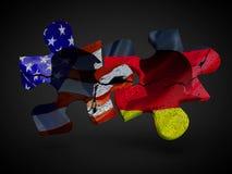 O trunfo e Merkel com bandeiras E.U. Alemanha no enigma remendam a rendição política do relacionamento 3D Foto de Stock