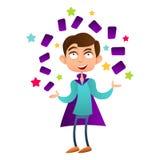 O truque da exibição do mágico do menino com cartões vector o plano Foto de Stock Royalty Free