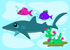 O tubarão e dois pescam amigos Fotos de Stock Royalty Free