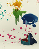 O tubarão e a pintura chapinham o contexto do estúdio Fotografia de Stock