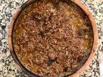 O turco Roasted a carne na caçarola/Kiyma Kavurma fotografia de stock